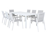 Oslo Outdoor Aluminium Dining 9pc Set - White - Razzino Furniture