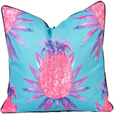 Pink & Aqua Pineapple Reverse Stripe Print Outdoor Cushion - Razzino Furniture