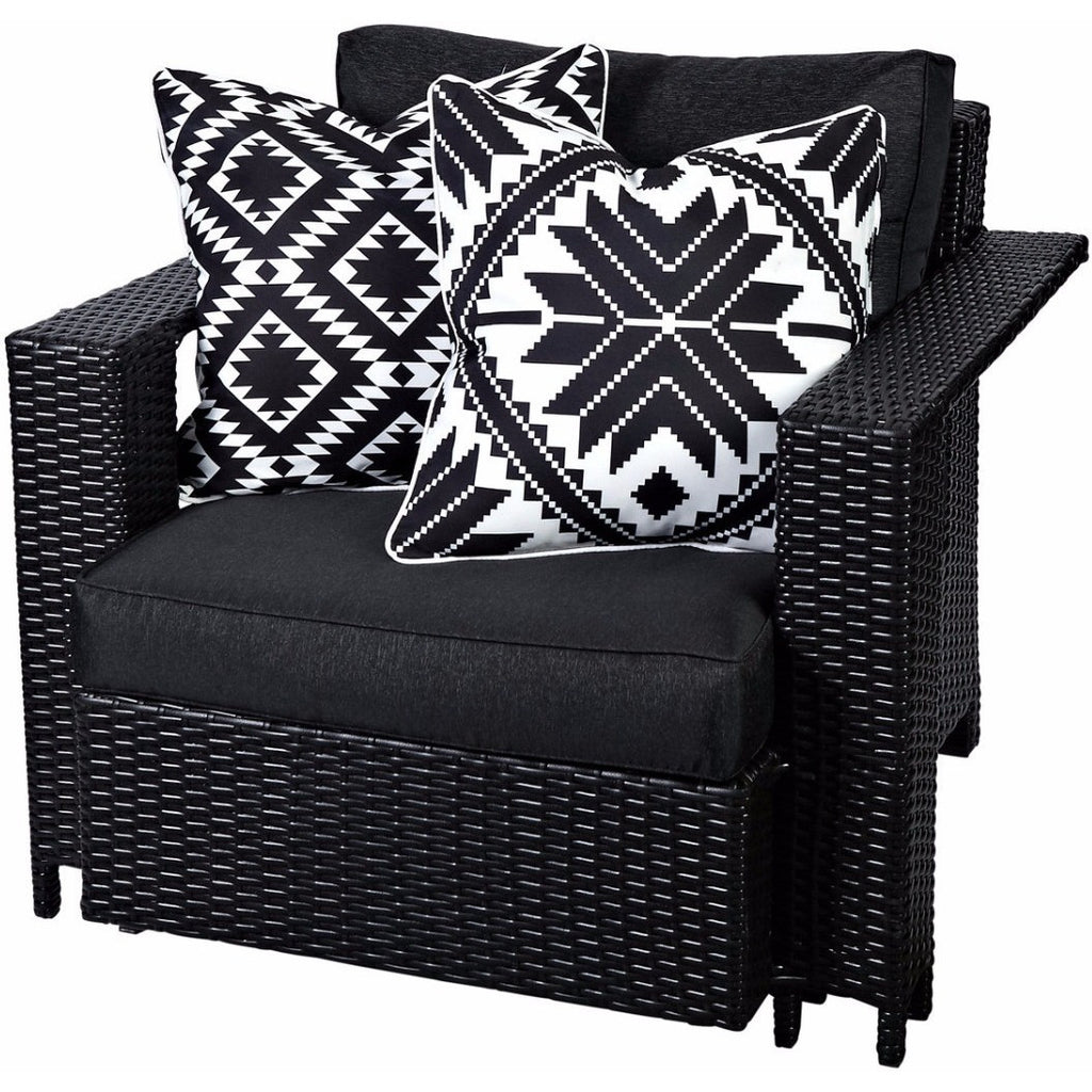 Aztec Reverse Inca Black & White Outdoor Cushion - Razzino Furniture