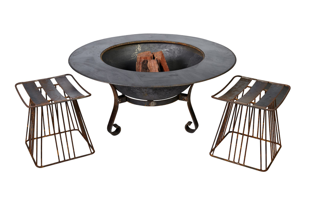 120cm Table Top With Cast Iron Fire Pit Bowl with Stand & Lid - Razzino Furniture