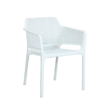 NET PP Outdoor Dining Chair - White - Razzino Furniture