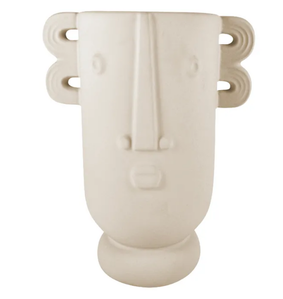 Neville Ceramic Face Vase 15x20cm Putty - Razzino Furniture