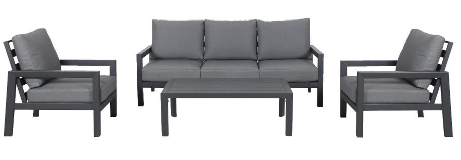 OSLO 4pc Aluminium Outdoor Lounge Set - GUNMETAL