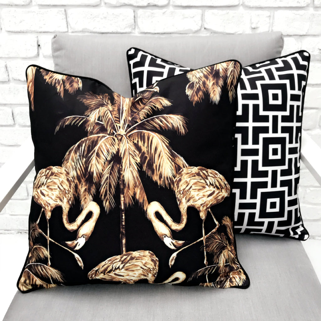 Gold Flamingo Reverse Mid Century Modern Print Outdoor Cushion - Razzino Furniture