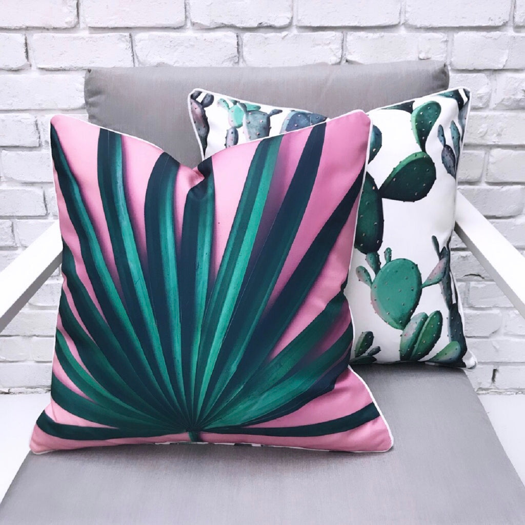 Pink Palm Reverse Cactus Print Outdoor Cushion - Razzino Furniture