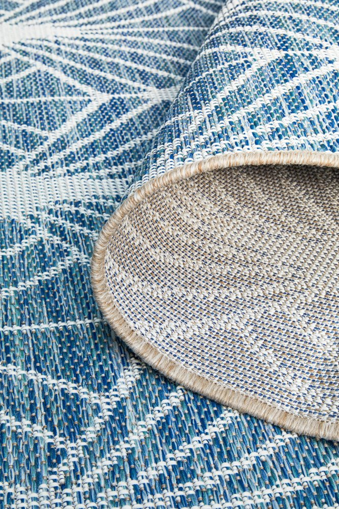 TERRACE Blue Fan Pattern OUTDOOR RUG - Razzino Furniture