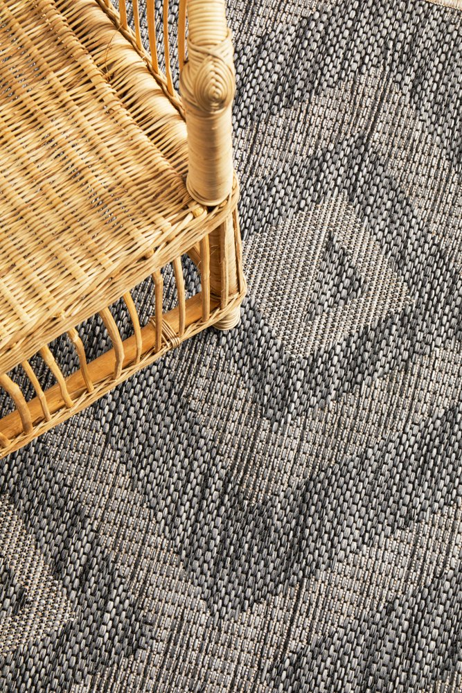 TERRACE Black Square Pattern OUTDOOR RUG - Razzino Furniture