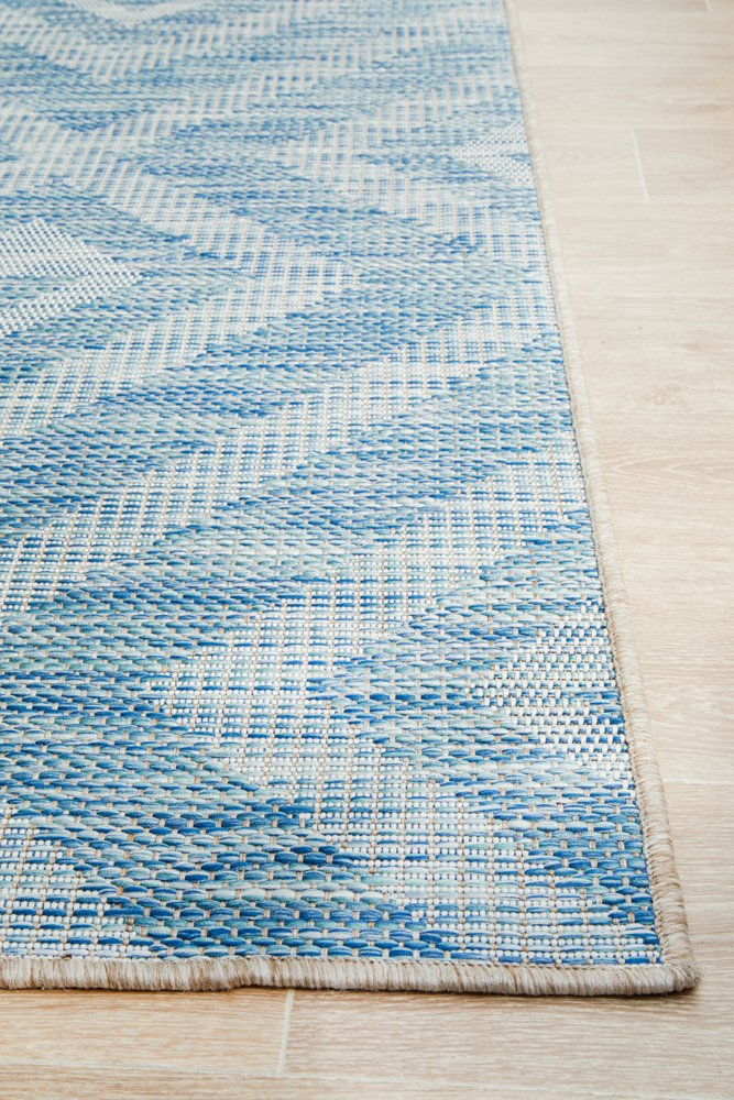 TERRACE Blue Square Pattern OUTDOOR RUG - Razzino Furniture