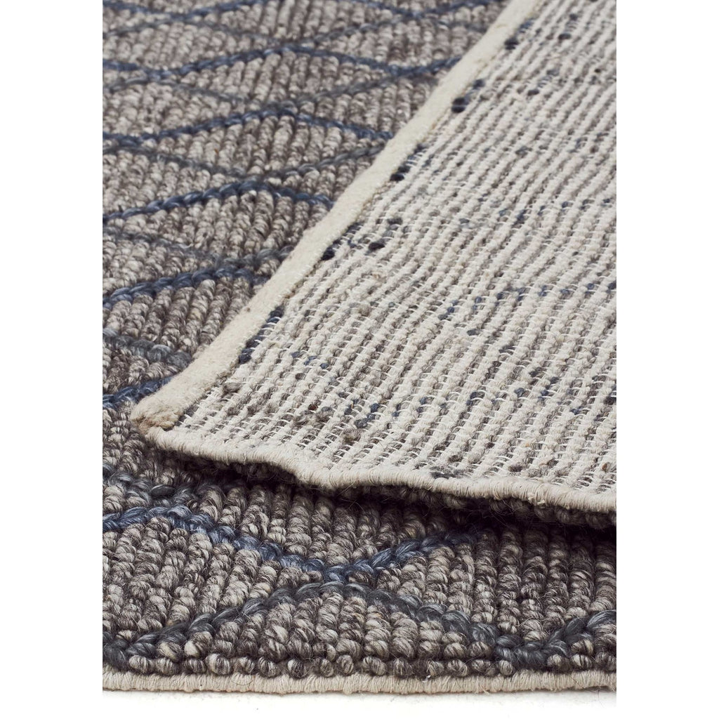 Urban Blue Chunky Knit 15mm Pile Wool Blend Rug - Razzino Furniture
