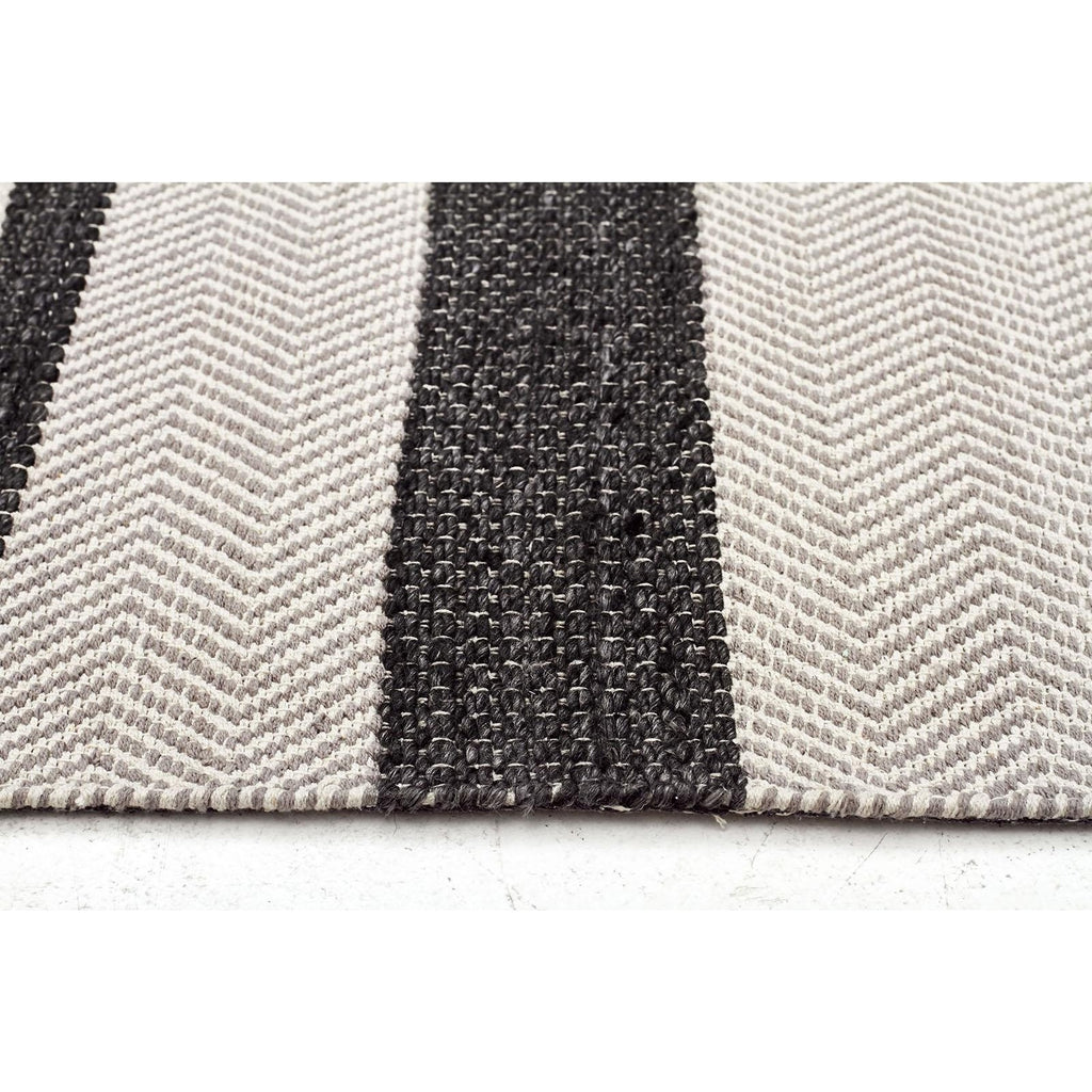 Urban Charcoal Stripe Cotton Wool Blend Rug - Razzino Furniture
