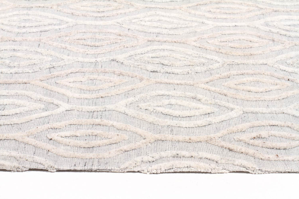 Akello - Natural White Swirl Wool Rug - Razzino Furniture