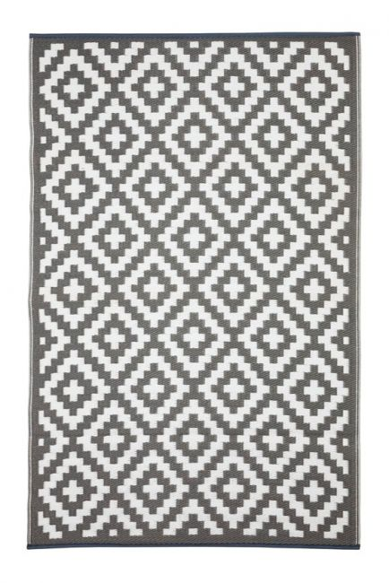 Eco Outdoor Rug - AZTEC Grey & White