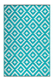 Eco Outdoor Rug - AZTEC Teal & White - Razzino Furniture