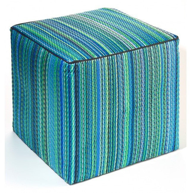 Outdoor Ottoman - Aqua Stripe - Razzino Furniture