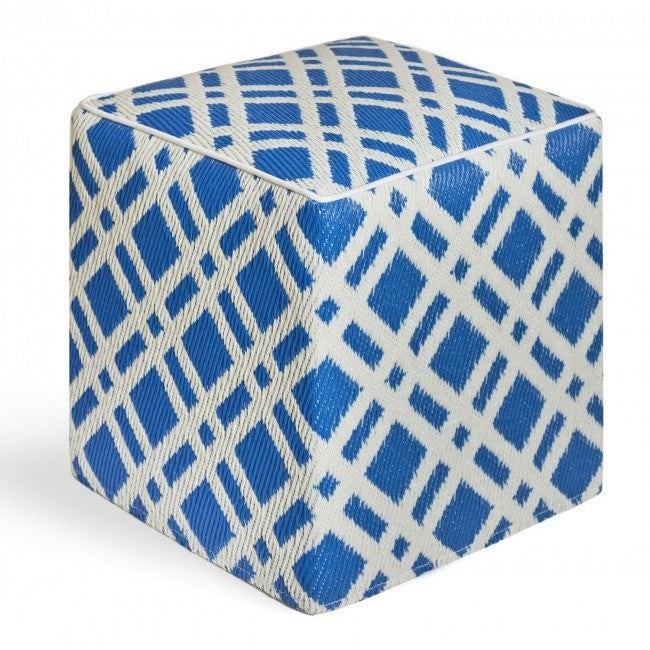 Outdoor Ottoman - Blue Lattice - Razzino Furniture