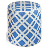 Outdoor Ottoman - Blue Lattice Round - Razzino Furniture