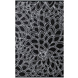Eco Outdoor Rug - Flower Petals - Black & White - Razzino Furniture