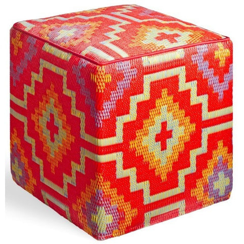Outdoor Ottoman - Orange Diamond
