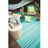 Eco Outdoor Rug - Multi Stripe - Cancun Aqua - Razzino Furniture