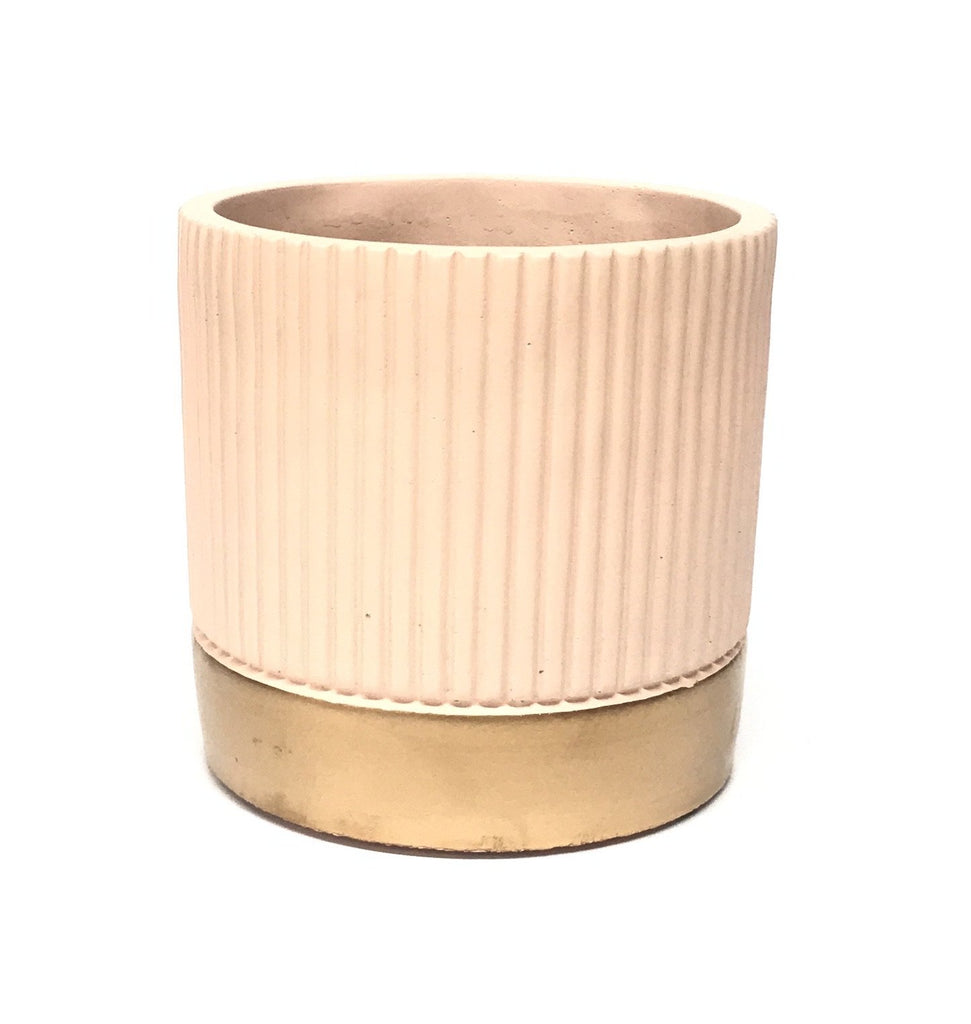 Ribbed Painted Concrete Pot - Light Pink & Gold