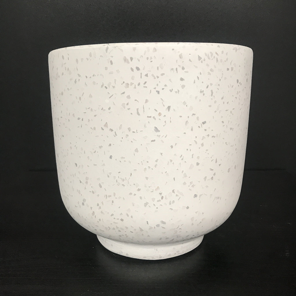 White on White Stone Terrazzo Concrete Bowl with base Pot