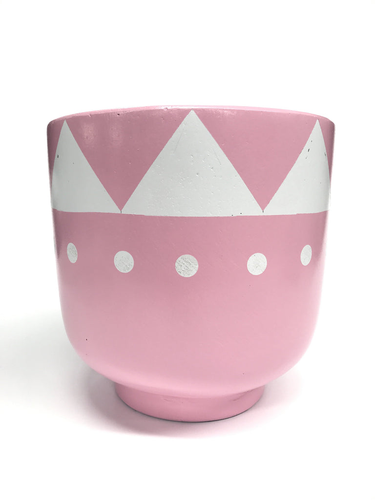Pink Hand Painted Tribal Concrete Bowl with base Pot