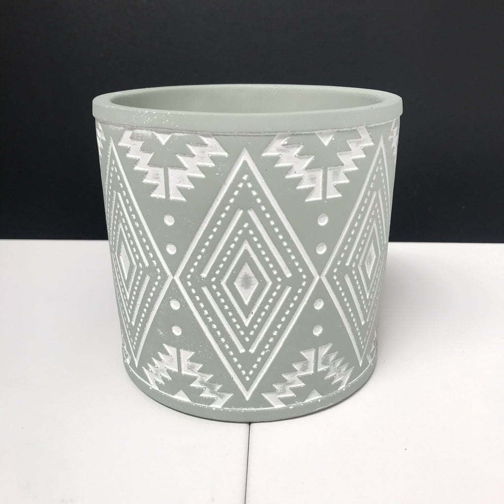 Aztec Pot - Painted Sage Green with Engraved Pattern - 12cm