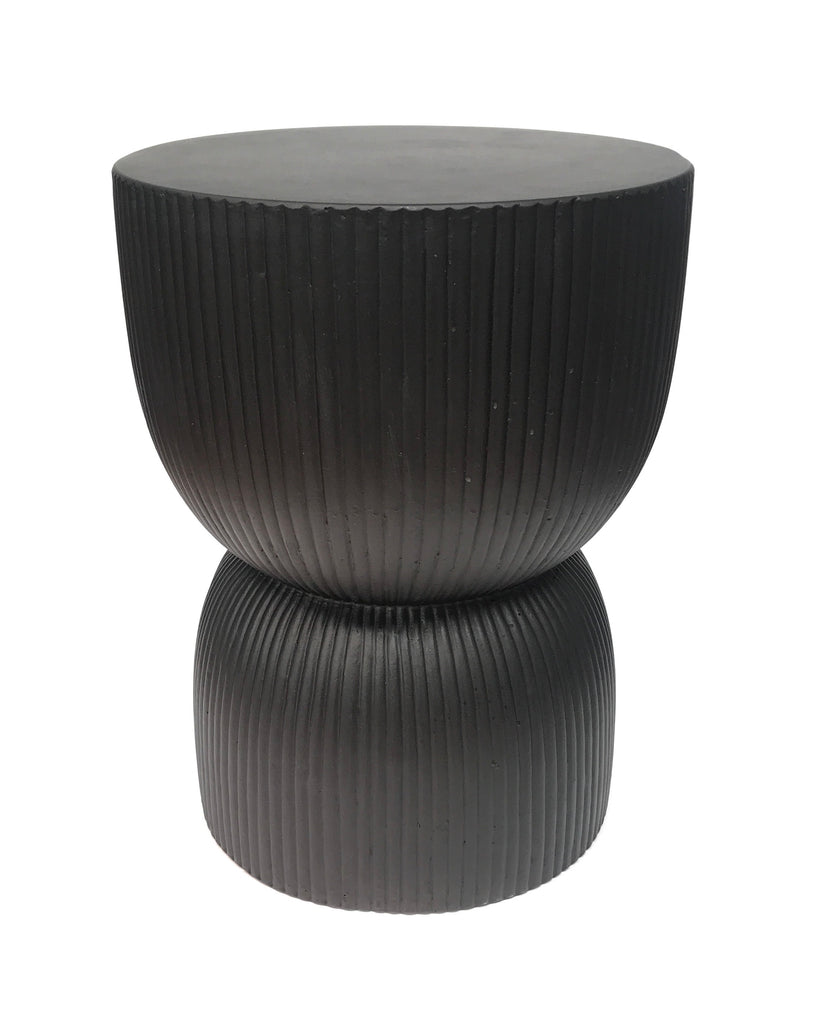 Hourglass Ribbed Concrete Stool / Side Table - Hand Carved - Black