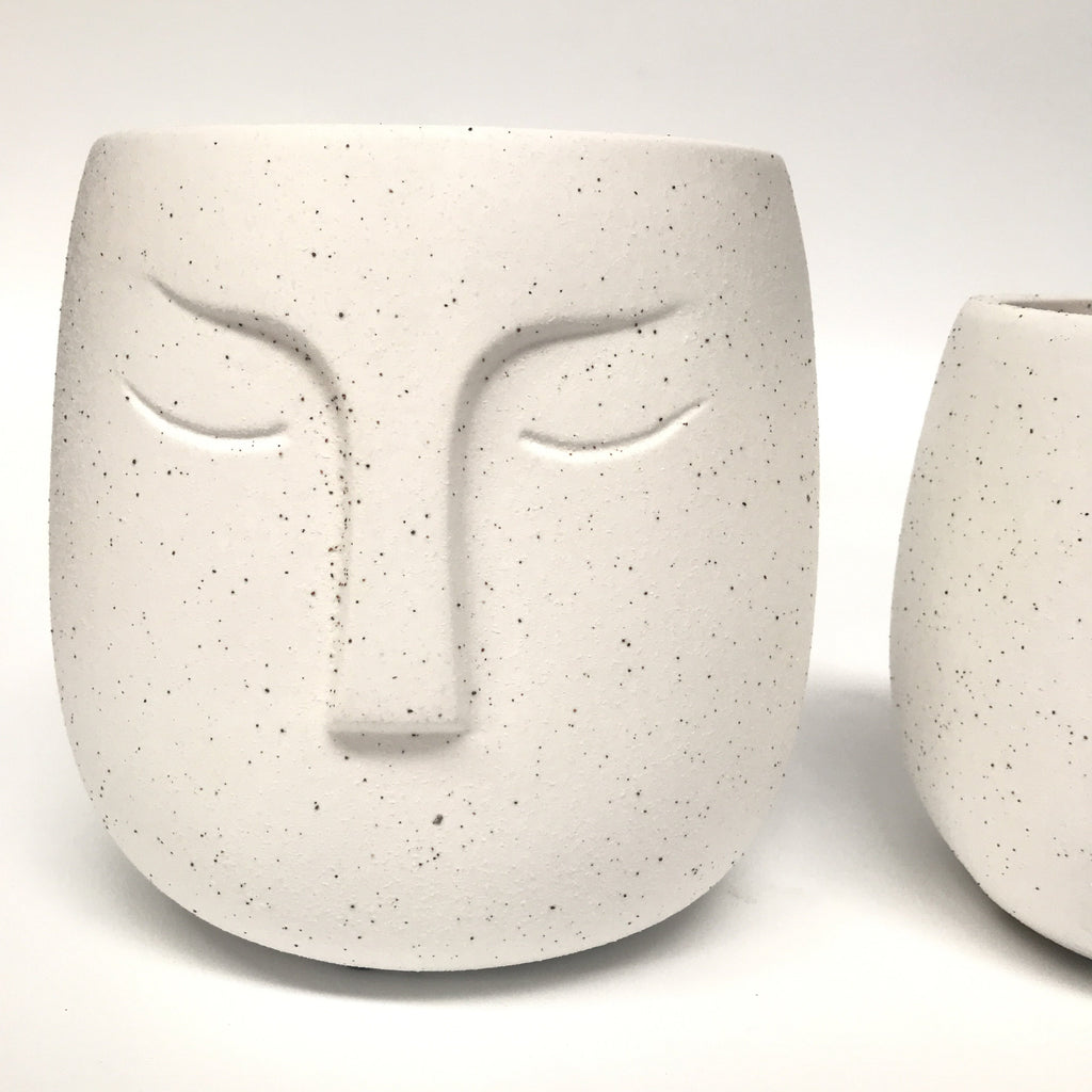 Warrior Face Pot - Sandy White (Small or Medium)
