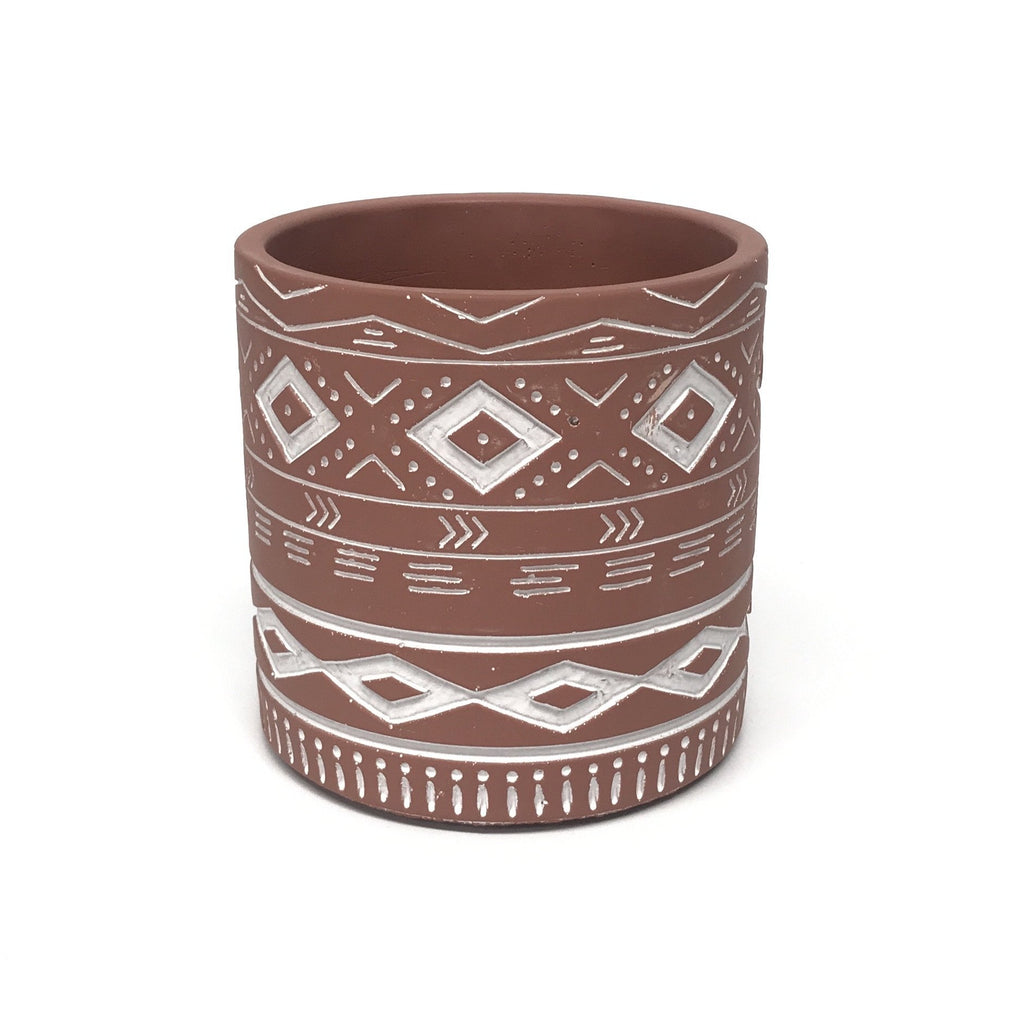 Gypsy Pot - Painted Terracotta with Engraved Pattern - 14cm