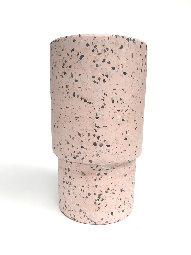 Tiered Tall Tower Concrete Pot - Pink Terrazzo