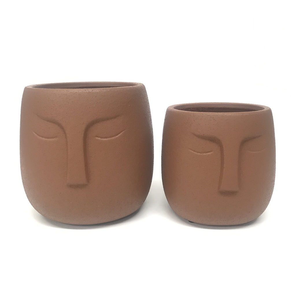 Warrior Face Pot - Sandy Terracotta (Small or Medium)