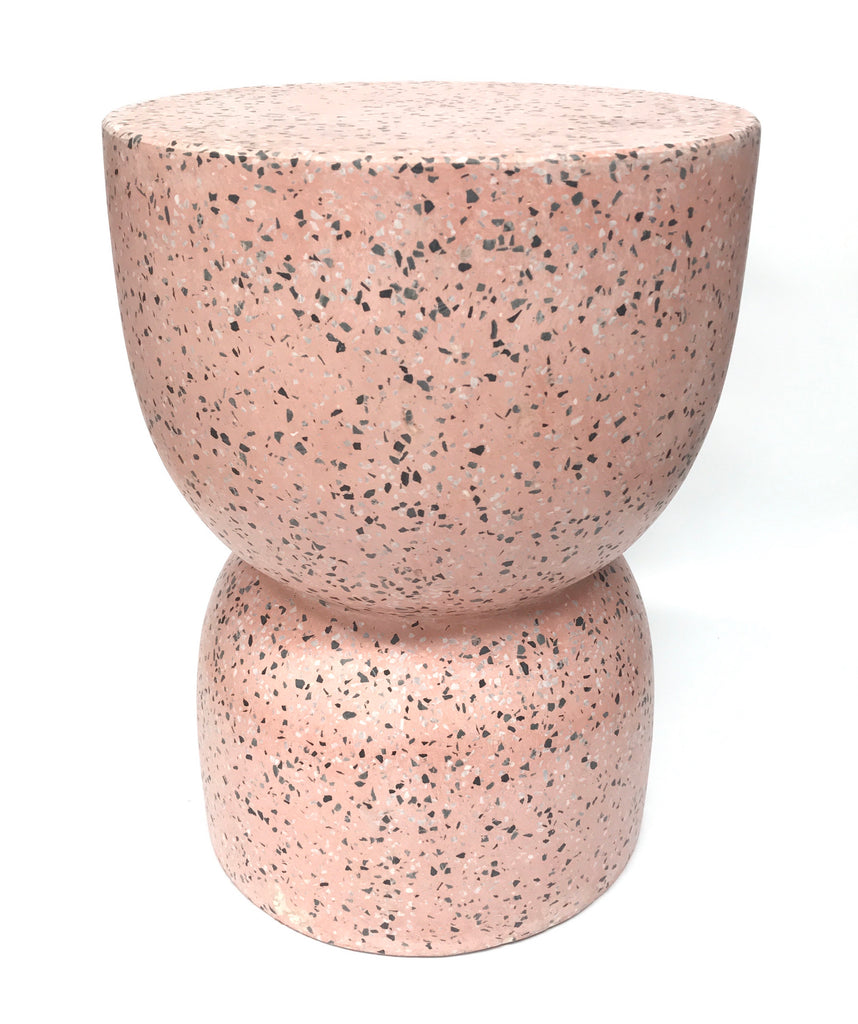 Hourglass Concrete Stool / Side Table - Pink Terrazzo