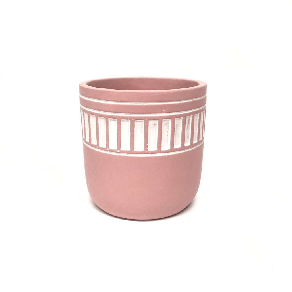 Mini Concrete Pot - Hand Painted Striped Band - Pink - 12cm
