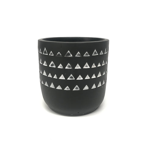 Mini Concrete Pot - Hand Painted Triangles - Grey - 12cm