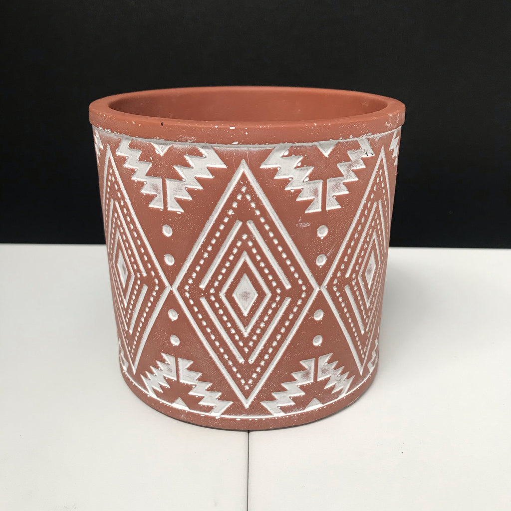 Aztec Pot - Painted Terracotta with Engraved Pattern - 12cm