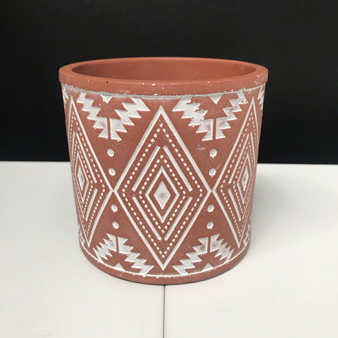 Grey Concrete Pot - Triangle Bands - Small 14cm