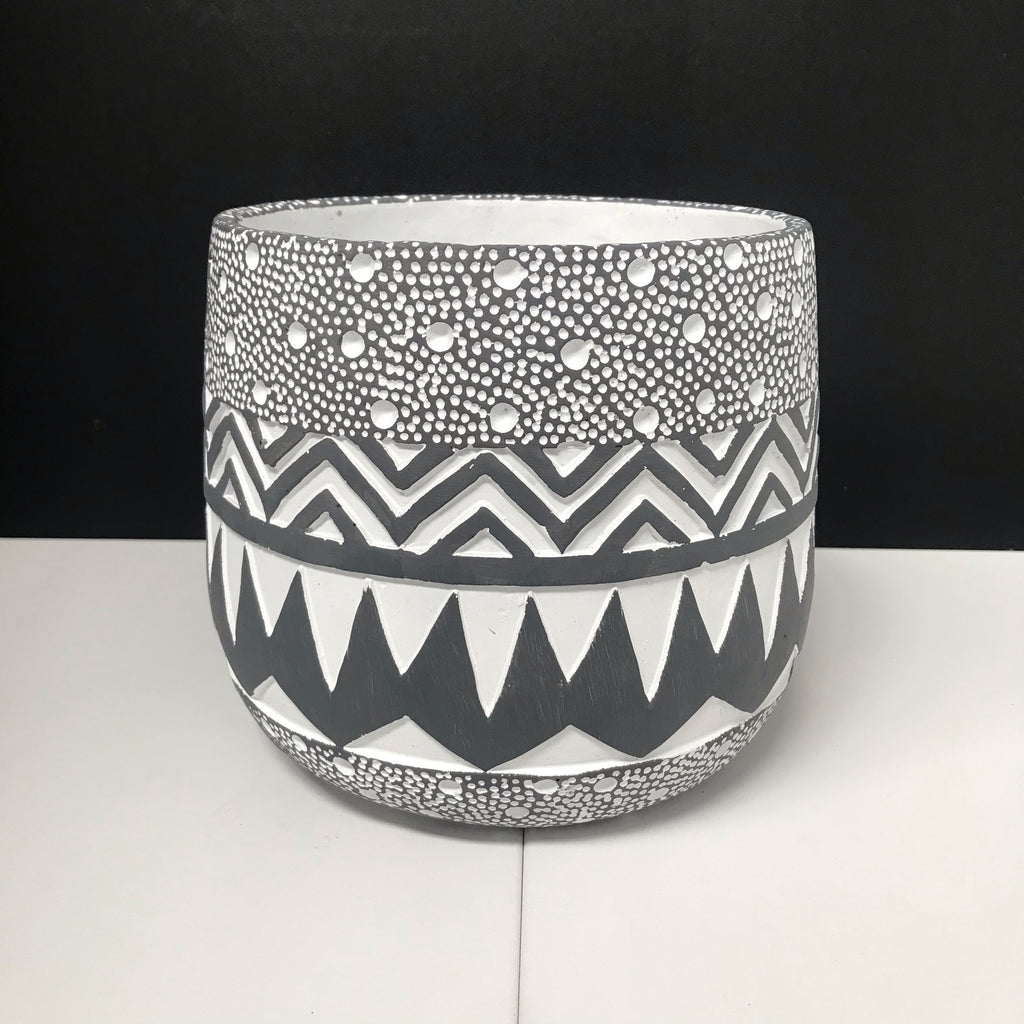 Tribal Black & White Hand Carved Round Pot