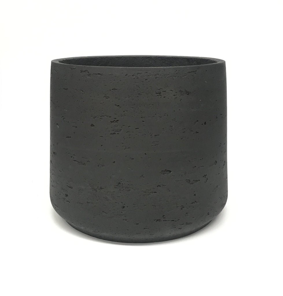 Raw Painted Concrete Pot - Black