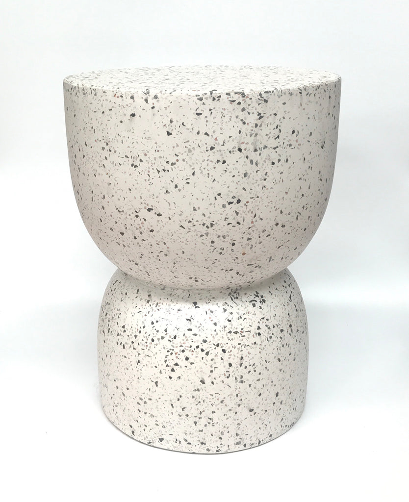 Hourglass Concrete Stool / Side Table - White Terrazzo