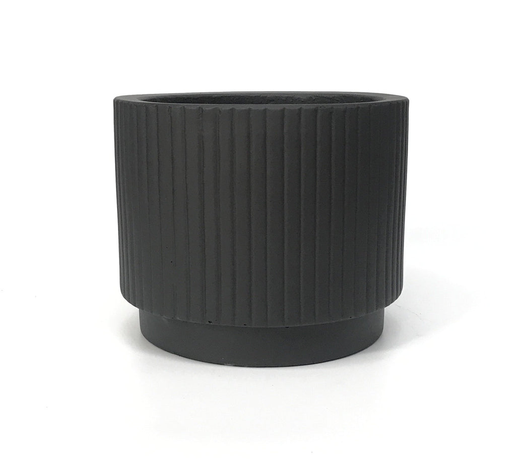 Tiered Ribbed Cylinder Concrete Pot - Black