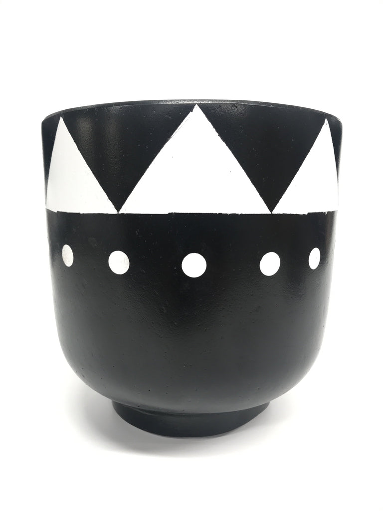 Black Hand Painted Tribal Concrete Bowl with base Pot