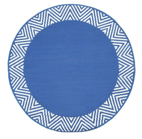 Deluxe Outdoor Rug - Circle Grid Navy