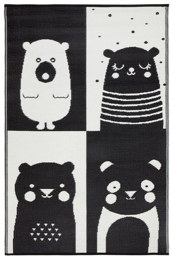 Eco Indoor / Outdoor KIDS Rug - Black & White Bear - Razzino Furniture