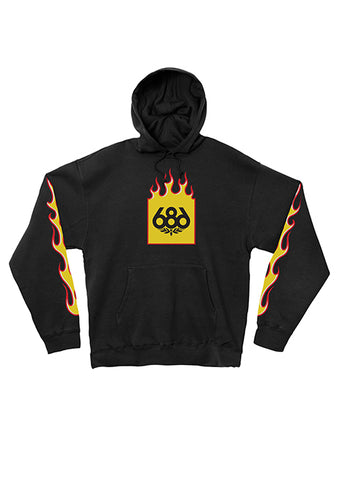 Flame Print Hood Fleece - Black