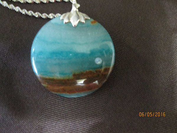 Beautiful Blue/Green Chalcedony Pendant                                                         P-009 - Birthstones and More