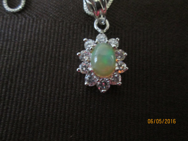Dainty Ethiopian Opal and Cubic Zirconia Pendant                                                EO-06 - Birthstones and More