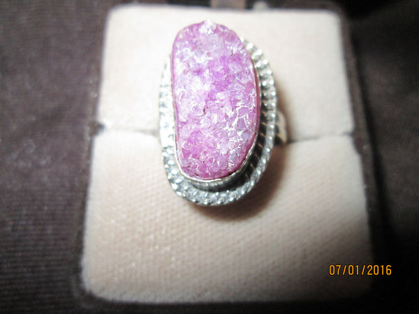 Pink Chalcedony Druzy Silver Ring      R-04 - Birthstones and More
