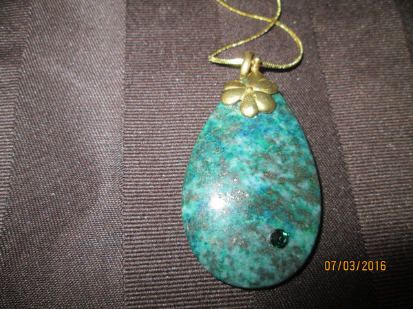 Luscious Lapis Lazuli and Chrysocolla Pendant            P-022 - Birthstones and More
