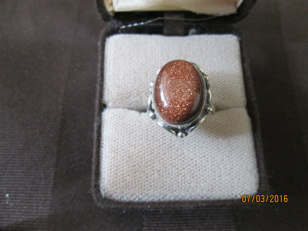 Antique 925 Silver  Gold Sandstone (Goldstone) Ring     R-06 - Birthstones and More